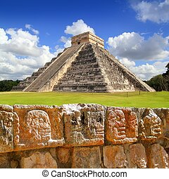 Chichen Itza Tzompantli the Wall of Skulls and Kukulkan...
