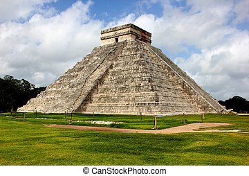 Chichen Itza's pyramid, in the peninsula of the Yucatan,...
