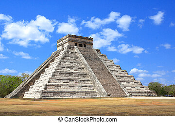 chichen, (kukulcan, itza, メキシコ\, mayan, temple), 古代, ピラミッド, yucatan