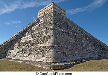 chichen, méxico, (the, el, kukulkan, -, templo, castillo,...