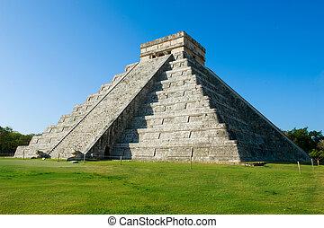 Chichen, Maya, pirámide,  itza,  México
