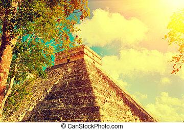 chichen, piramide, mexicaanse , itza, touristic, mexico., mayan, bouwterrein, oud