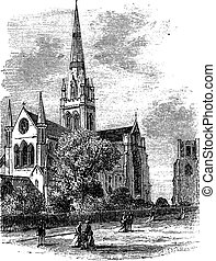 Chichester Cathedral vintage engraving in the 1890s -...
