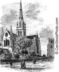 Chichester Cathedral vintage engraving in the 1890s