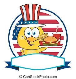 Chick Character With Patriotic Hat