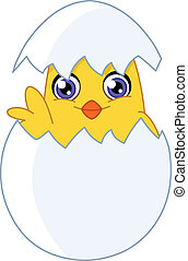 Chick - Cute chick waving from an egg