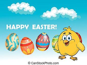chick, glade, konstruktion, card, påske