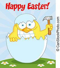 chick, hammer, påske, holde, glade