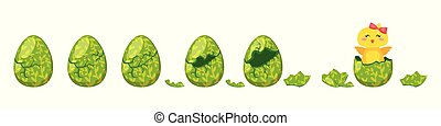Vector cartoon style illustration of cracking colorful Easter egg for animation. Cute yellow chick with red bow hatched from holiday egg.