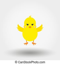chick., icon., flat., vector.