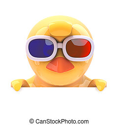 Chick in 3d glasses looks over the top