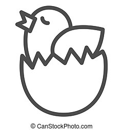 Chick in an egg line icon. Chicken hatched from an egg outline style pictogram on white background. Easter chick wants to fly out of eggshell for mobile concept and web design. Vector graphics.