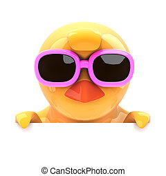 Chick in sunglasses looks over the top