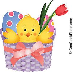 Chick Inside an Easter Basket