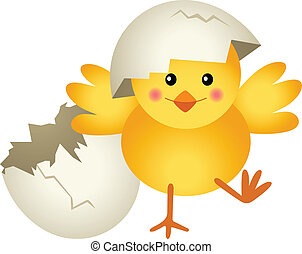 Scalable vectorial image representing a chick leaving cracked egg, isolated on white.