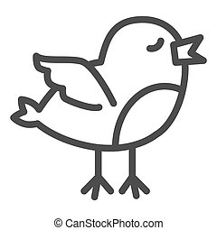 Chick line icon. Standing and trying to fly newborn chick outline style pictogram on white background. Young baby chicken for mobile concept and web design. Vector graphics.