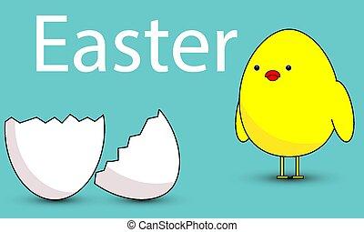 Chick looks at Easter eggshell, vector art illustration.