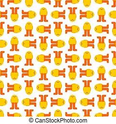 Chick pattern seamless. Little chicken cartoon style background. Baby Fabric Texture