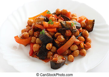 chick-pea with eggplant and tomato sauce