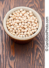 Chick peas in a pot bowl