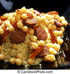 chick peas with couscous and chorizo