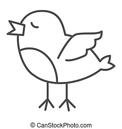 Chick thin line icon. Standing and trying to fly newborn chick outline style pictogram on white background. Young baby chicken for mobile concept and web design. Vector graphics.