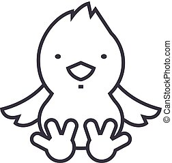 chick vector line icon, sign, illustration on background, editable strokes