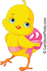 Chick with bow - Cute Easter Chick with bow