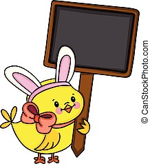 Chick with bunny ears holding blank wooden signboard