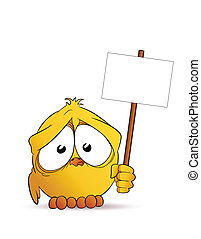 Chick with signboard - Little sweet chick with signboard