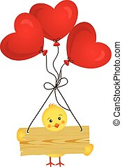 Chick with wooden sign and heart balloons