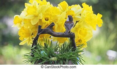 chickadee, Easter eggs, daffodils