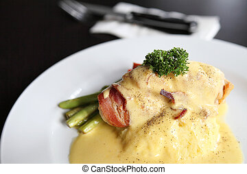 Chicken and bacon with cheese sauce