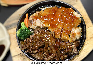 Chicken and beef Teriyaki
