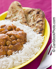 Chicken and Chickpea Curry with Rice and Naan Bread