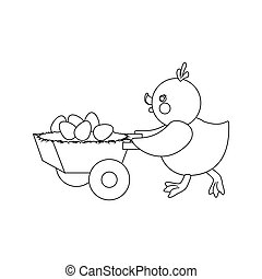 Chicken and eggs outline