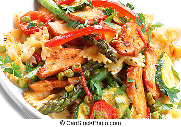 Chicken and Pasta Salad - Farfelle ribbon bow pasta with...
