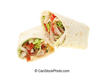 Chicken and salad bread wraps - Chicken, sausage and salad...