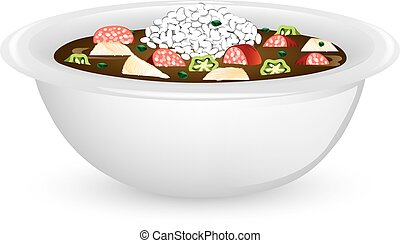 Chicken and Sausage Gumbo - Illustration of a bowl of ...