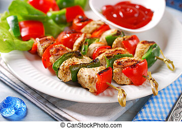 chicken and vegetable grilled skewers - chicken,cherry...