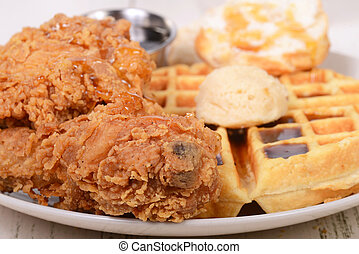 Chicken and Waffles with a biscuit