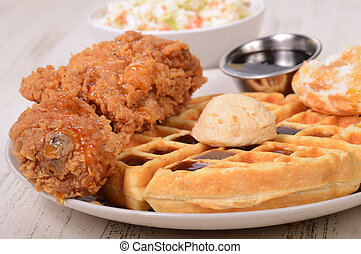Chicken and Waffles with cole slaw