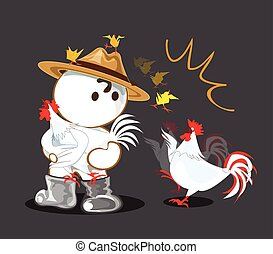 Chicken animation falling funny in owner Farm