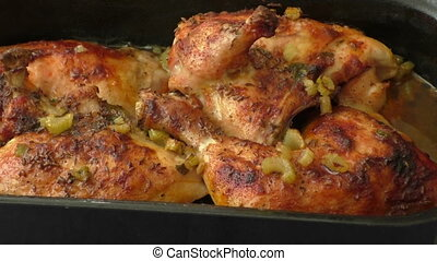 Chicken baked in the oven and celery