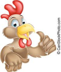 chicken, beduimelt omhoog, spotprent