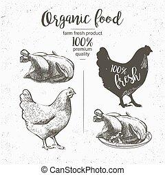 chicken, bereid, geroosterd