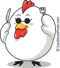 Chicken - Black cock wearing glasses holding a fork and...