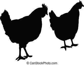 chicken body silhouette vector