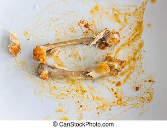 chicken bone on white plate