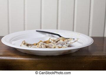 Chicken Bones - Chicken bones left on a plate after a meal